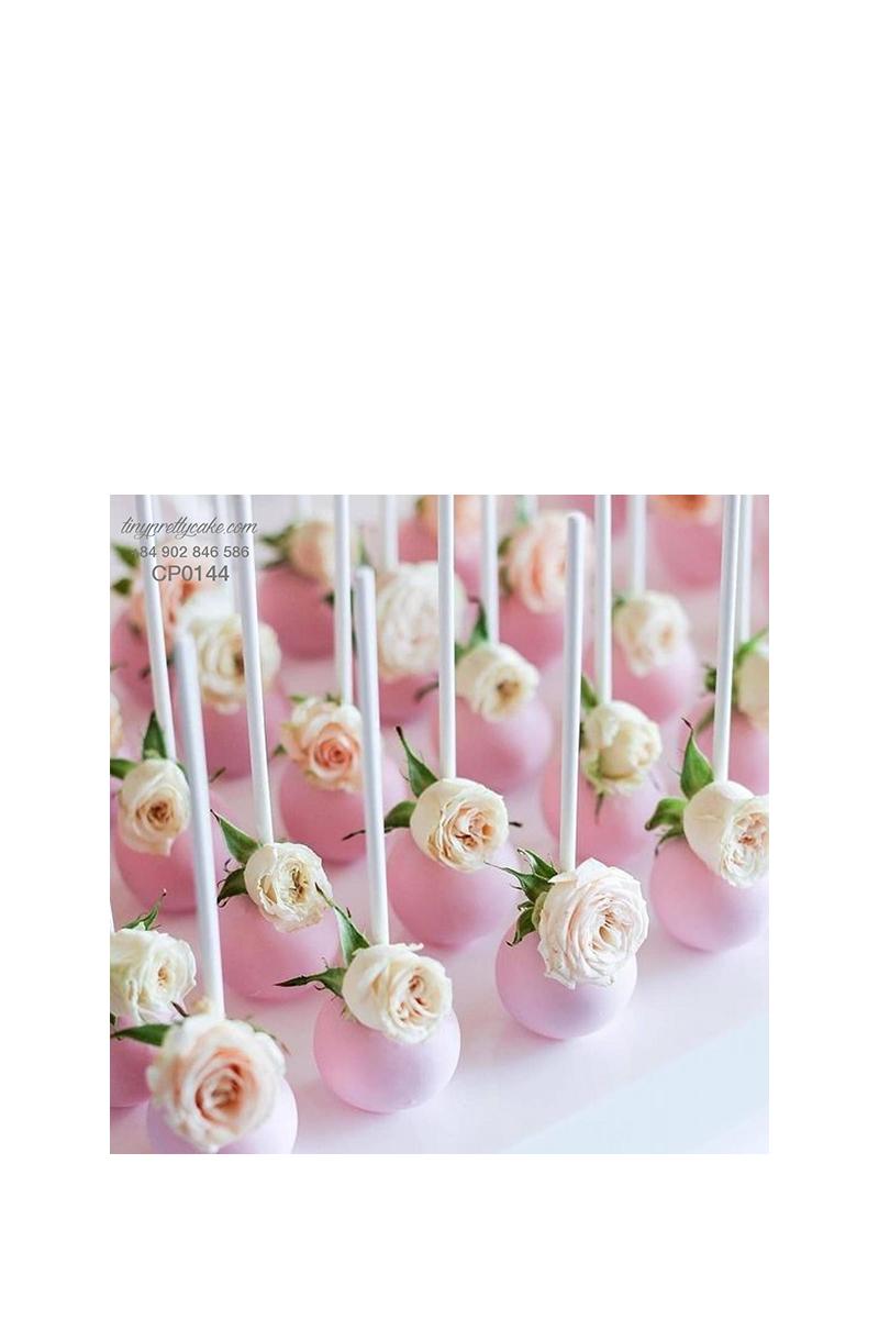 Cakepop hoa hồng trắng cực dễ thương cho phụ nữ (CP0144)