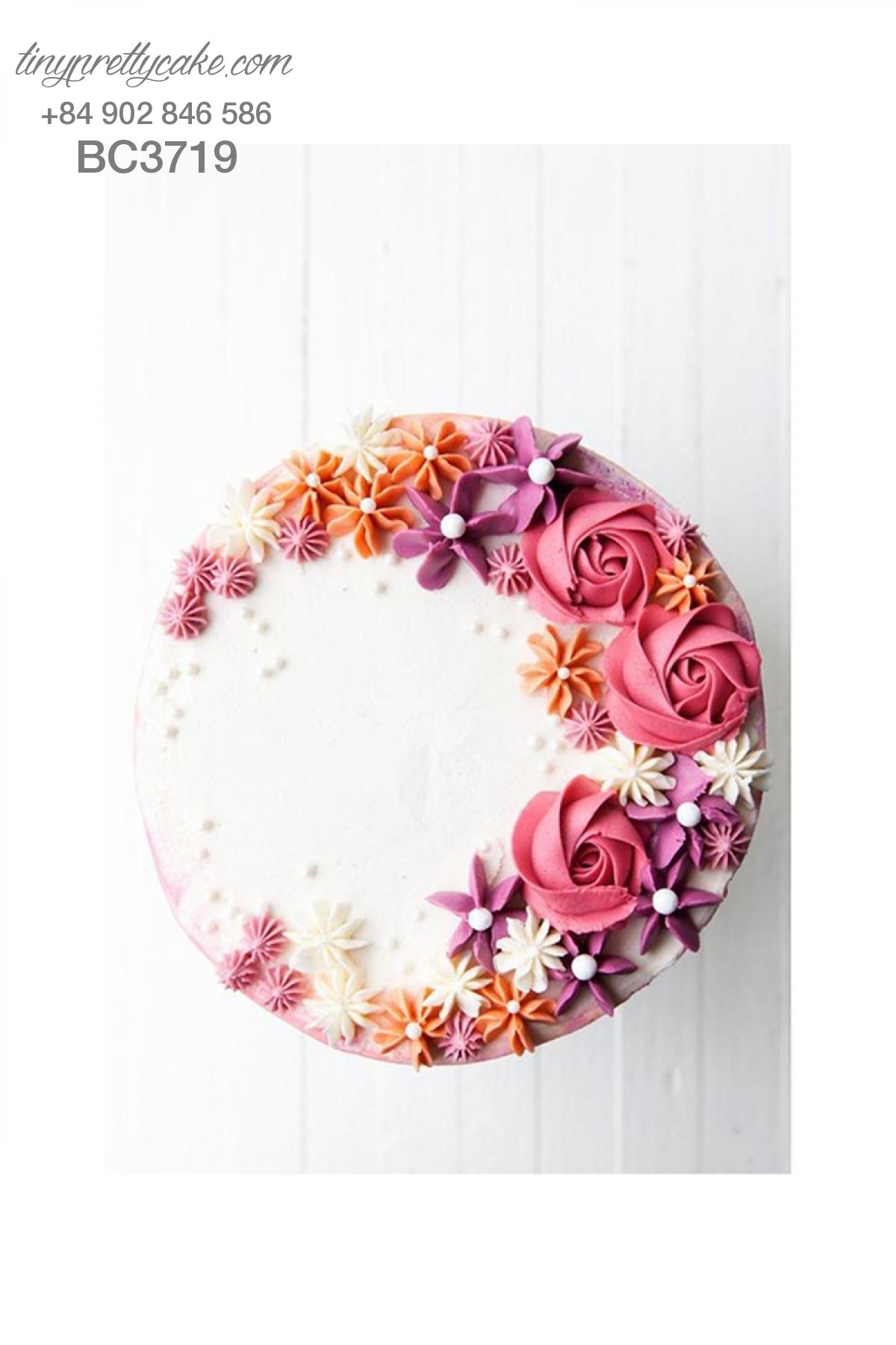 Bánh gato hoa hồng lãng mạn cho phụ nữ (BC3719)
