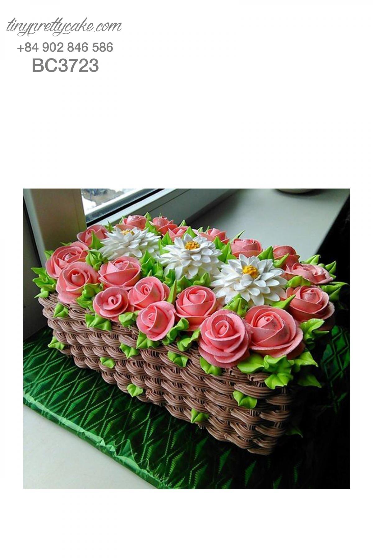Bánh sinh nhật giỏ hoa hồng cực đáng yêu cho phụ nữ (BC3723)
