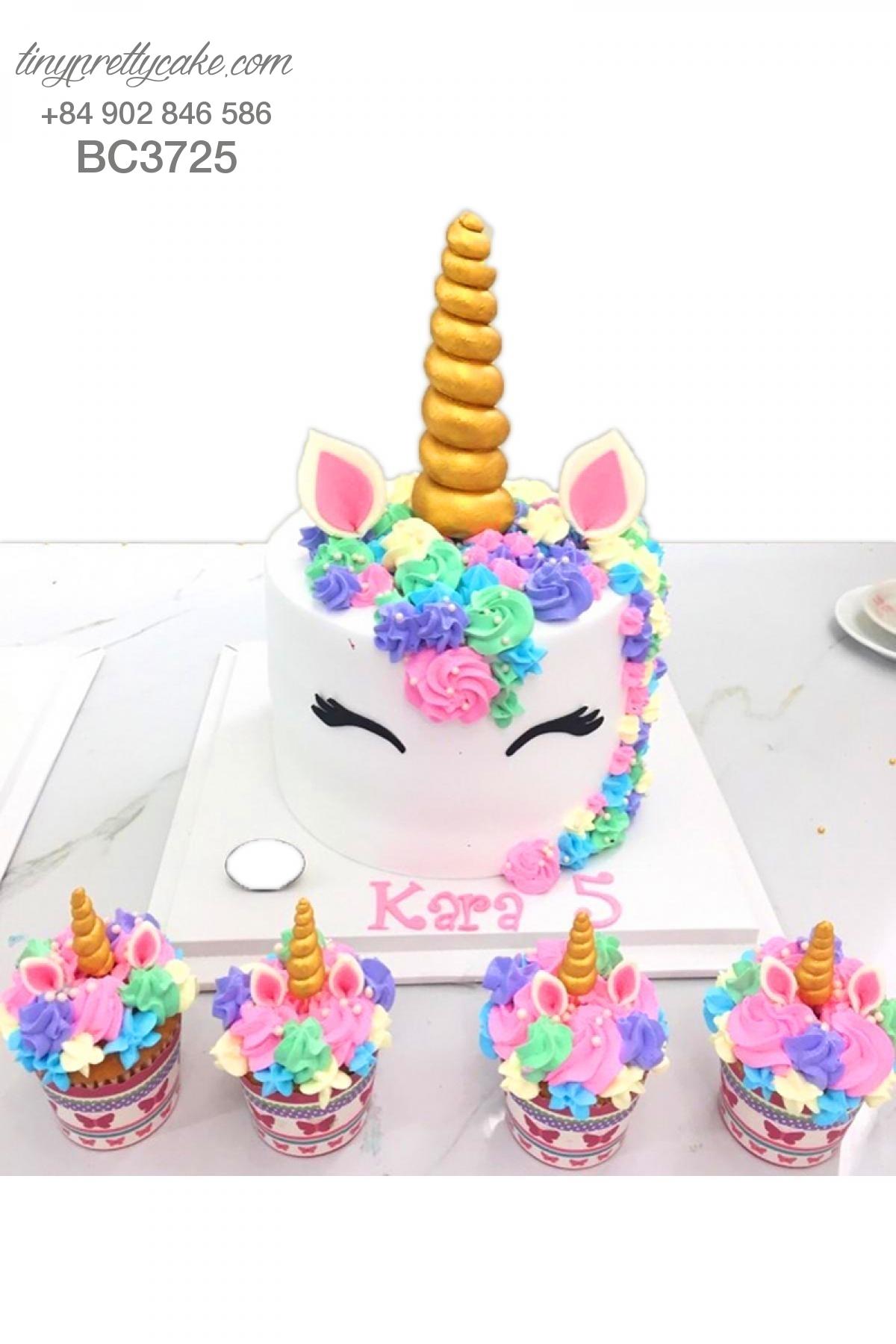 Bánh sinh nhật dễ thương tạo hình chú ngựa Pony (Unicorn) - mừng thôi nôi cho bé gái (BC3725)