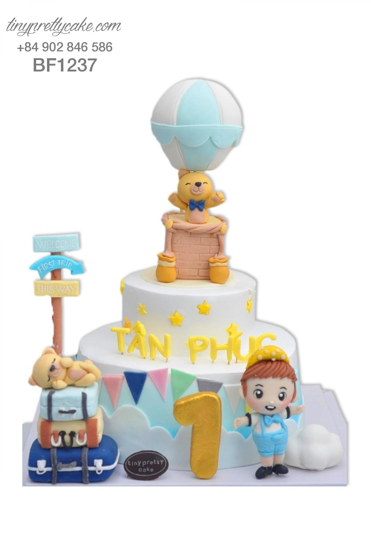 Bánh sinh nhật dễ thương 2 tầng khinh khí cầu gấu con - mừng sinh nhật, thôi nôi cho bé trai tinh nghịch (BF1237)