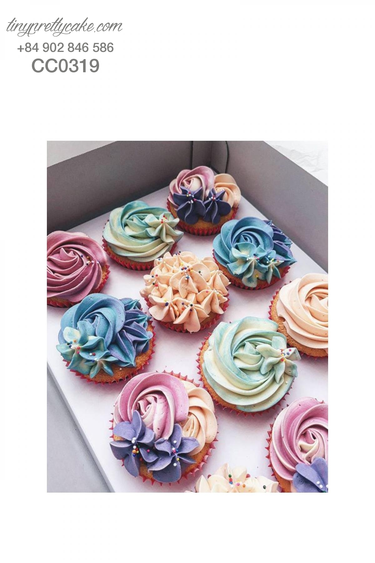 Cupcake hoa kem sữa tinh tế cho phụ nữ (CC0319)