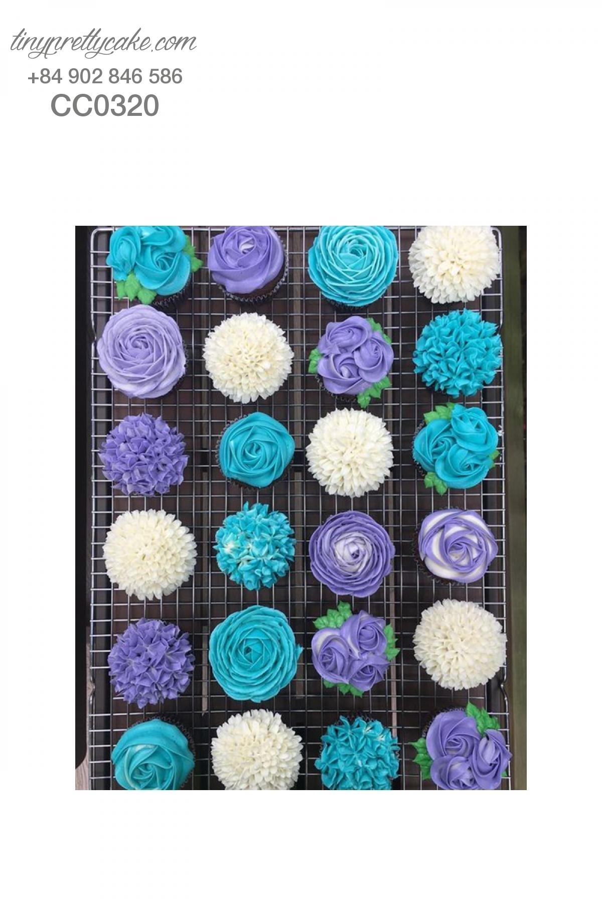 Cupcake hoa xanh tím cực lạ cho phụ nữ (CC0320)