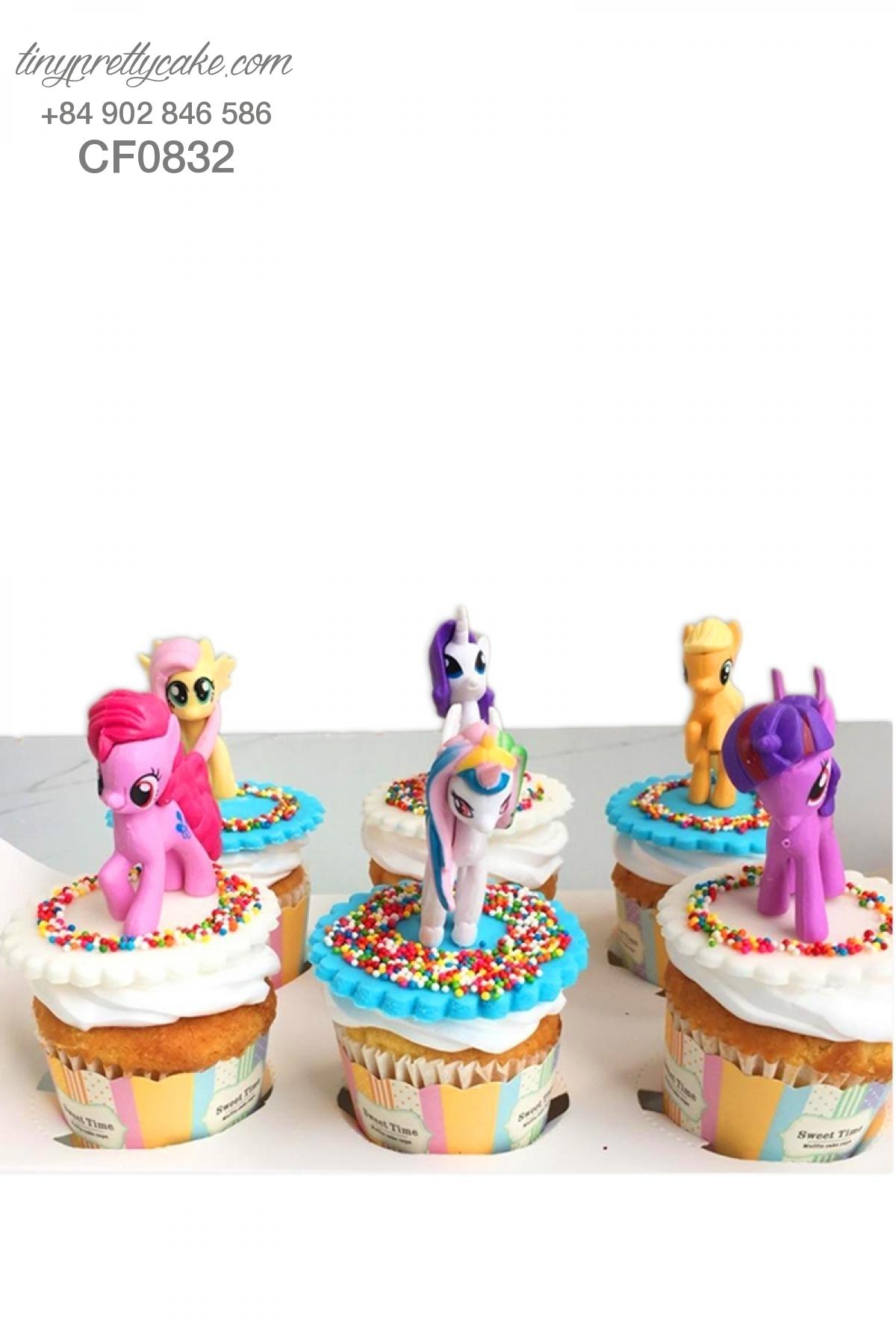 Cupcake chú ngựa Pony (Unicorn) dễ thương mừng sinh nhật cho bé gái (CF0832)