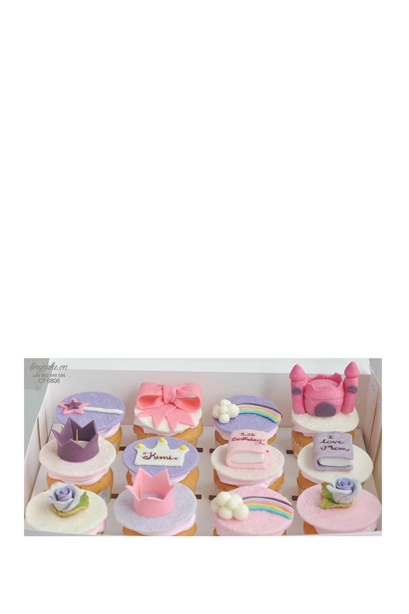 Cupcake tạo hình vương miện và lâu đài - mừng sinh nhật bé gái (CF0806)