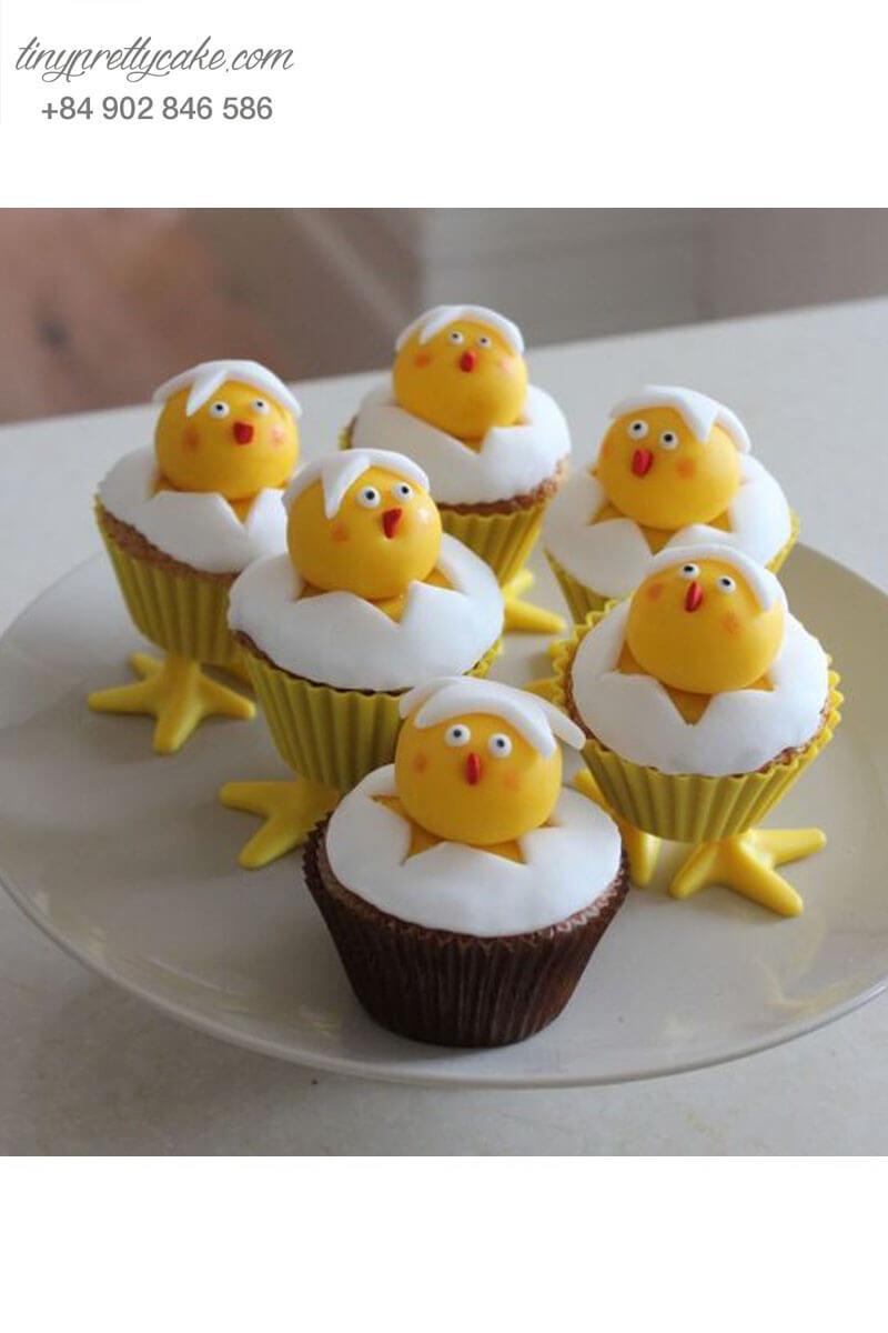 Bánh Cupcake hình gà con siêu đáng yêu mừng sinh nhật cho các bé