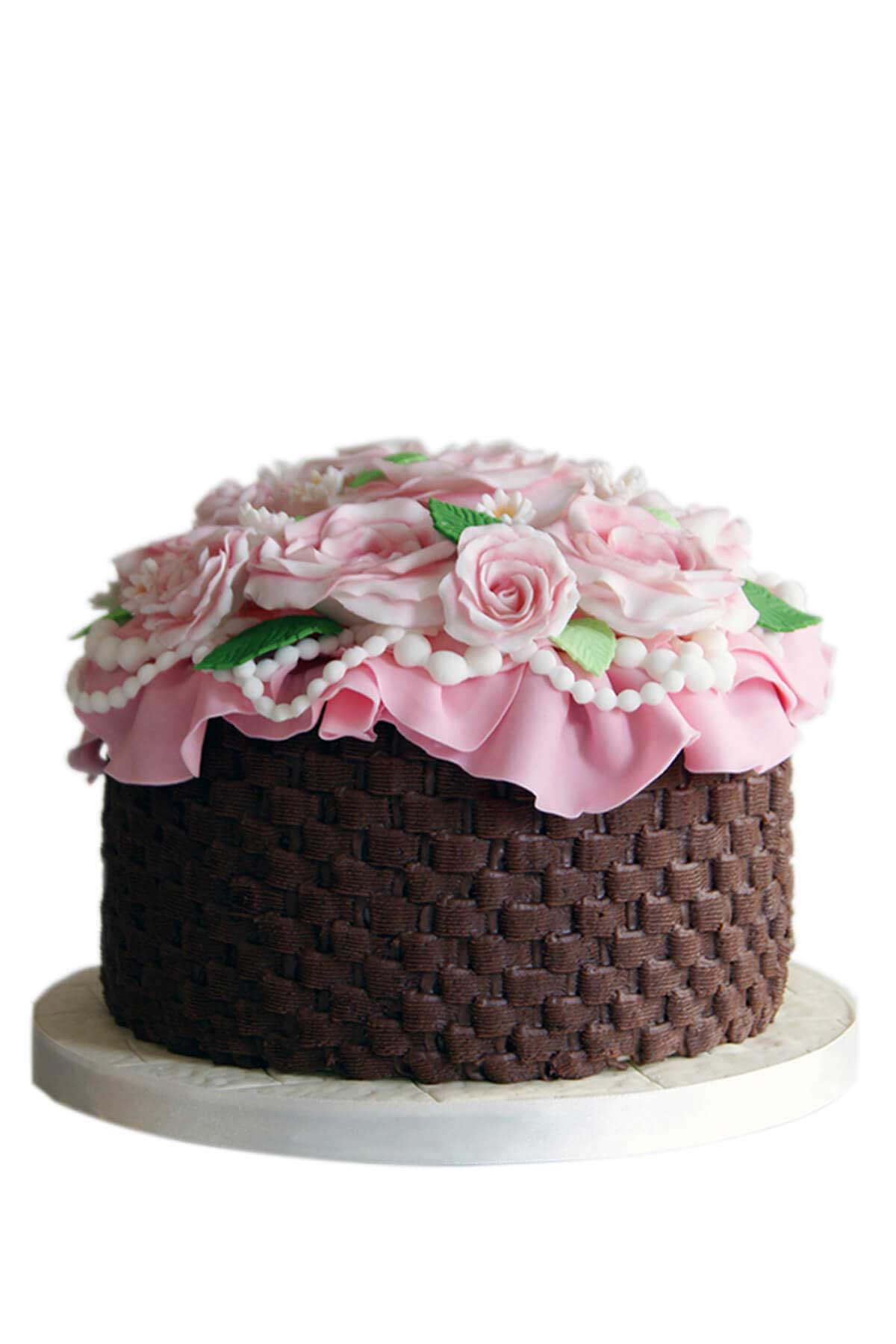 bánh kem hình giỏ hoa hồng