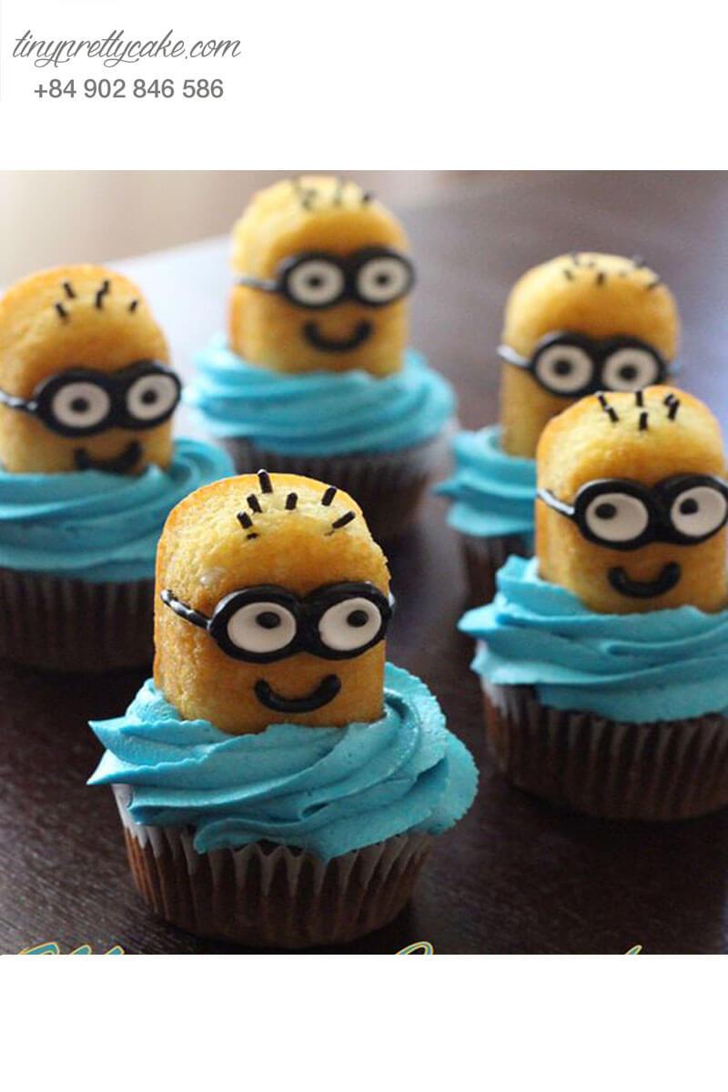 Bánh Cupcake minion hài hước dành tặng sinh nhật các bé