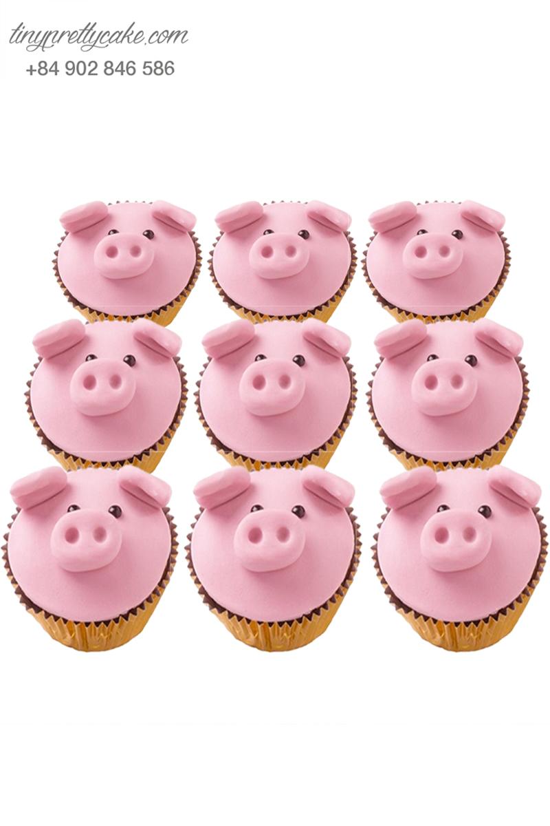 Bánh cupcake hình heo con ngộ nghĩnh tặng sinh nhật các bé