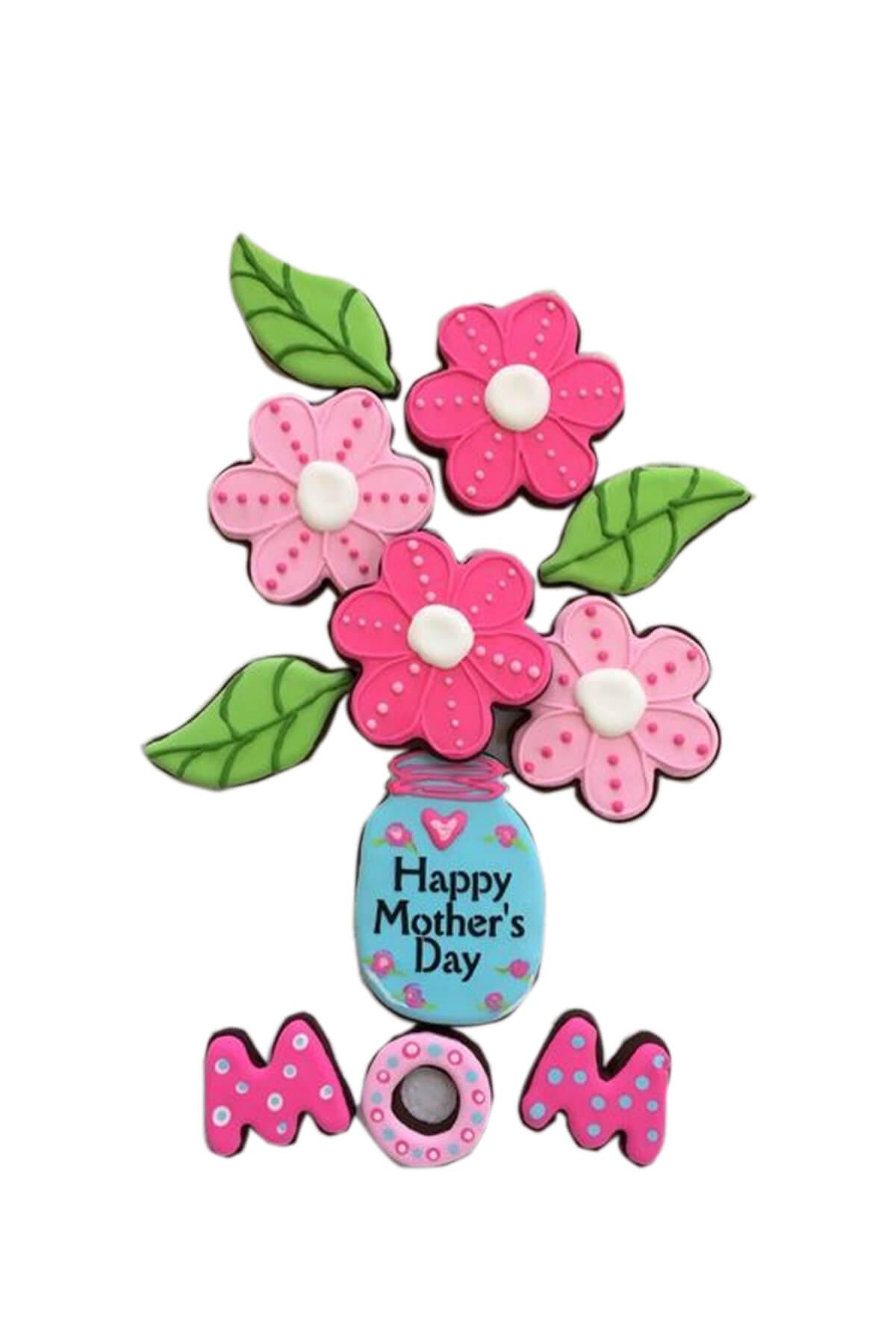 Set cookie hình bó hoa cắm lọ dễ thương tặng mẹ