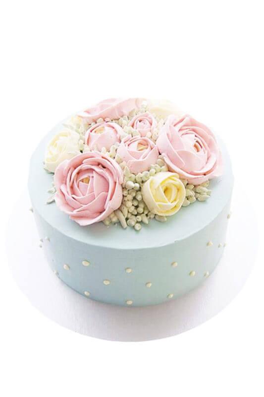 Bánh kem tạo hình vườn hoa mùa xuân màu pastel hiện đại, thanh lịch
