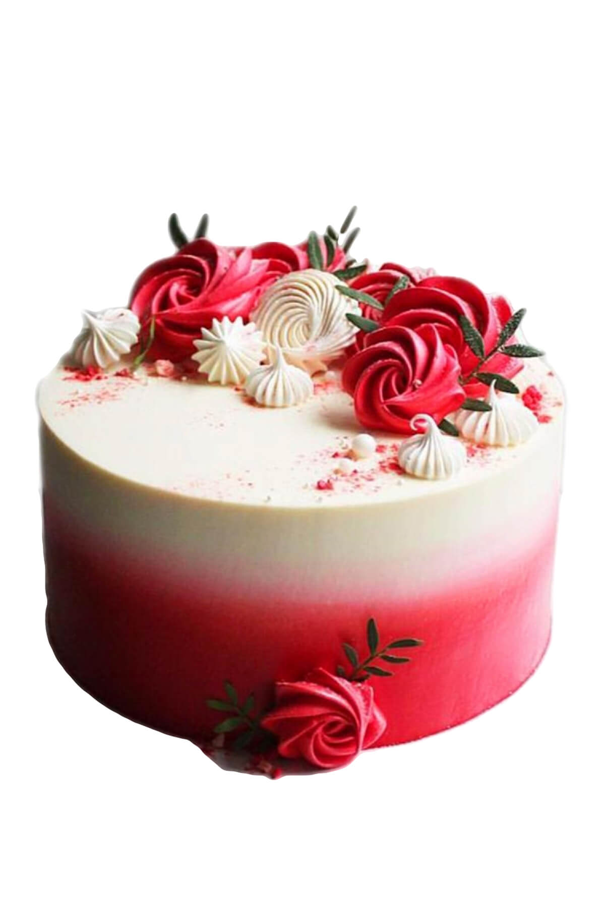 Bánh kem vườn hoa tông trắng đỏ đẹp quyến rũ