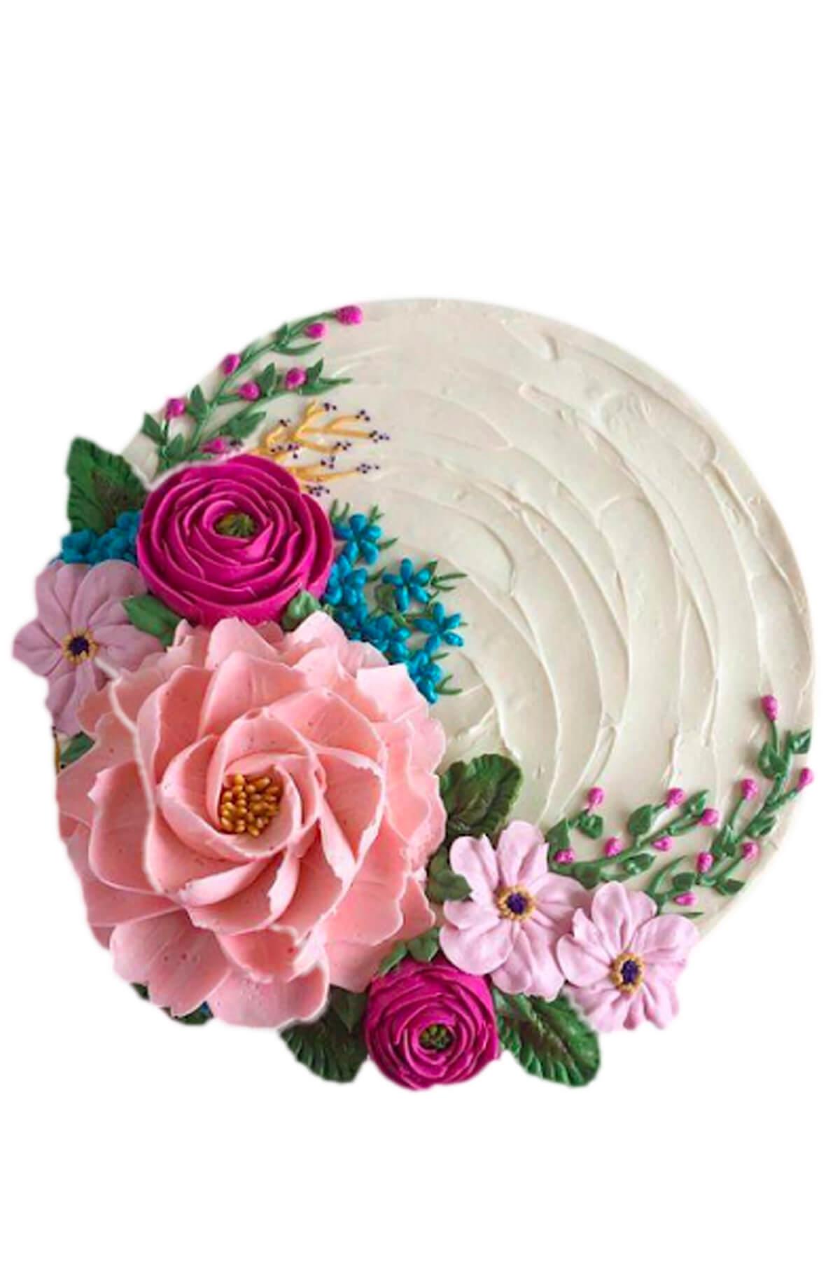 Bánh kem tạo hình vườn hoa mùa xuân đầy màu sắc sống động và rực rỡ