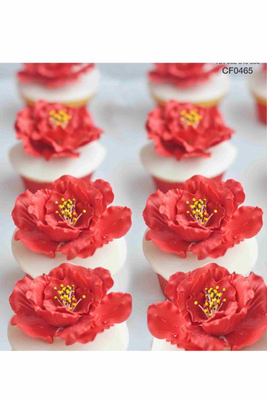 Cupcake hoa dâm bụt đỏ quyến rũ, sống động như thật