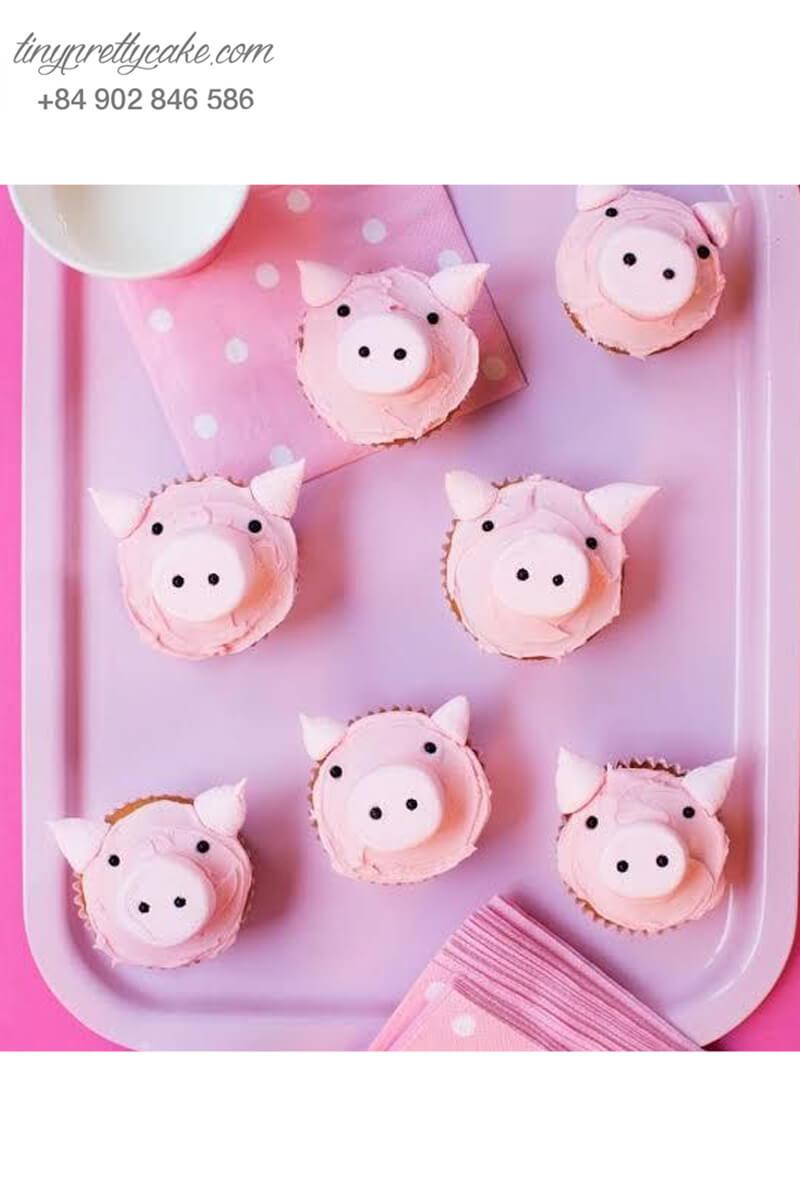 Bánh Cupcake heo hồng ngọt ngào dành tặng sinh nhật các bé