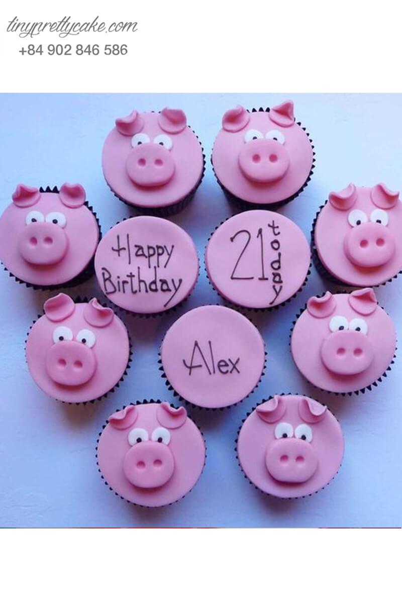 Bánh cupcake heo hồng dễ thương tặng sinh nhật các bé.
