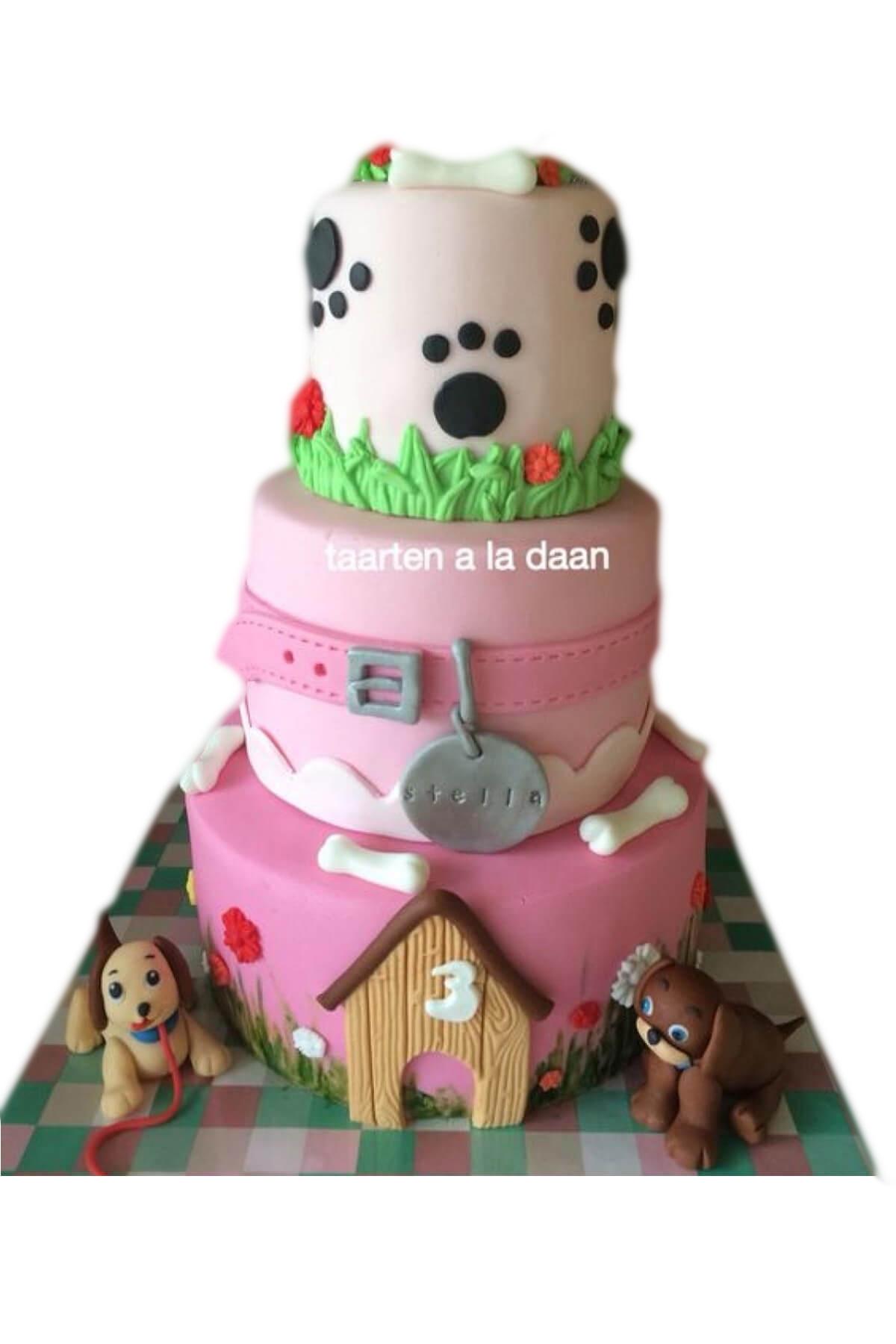Bánh sinh nhật ba tầng ngôi nhà của gia đình chó con cho bé gái (AC0297)