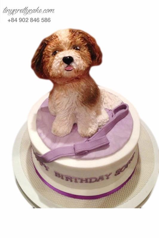 Bánh sinh nhật tạo hình chó con lông xù siêu đáng yêu cho bé gái (AC0298)