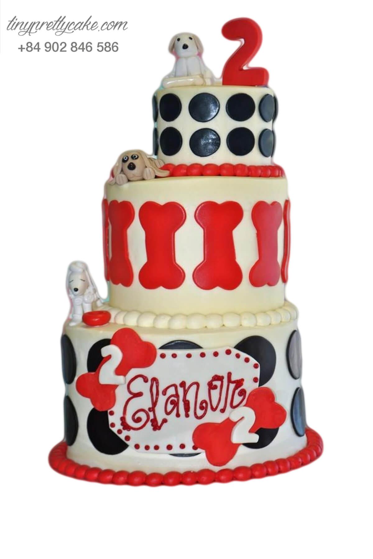Bánh sinh nhật ba tầng tạo hình biệt đội thú cưng dành cho bé trai, bé gái (AC0299)