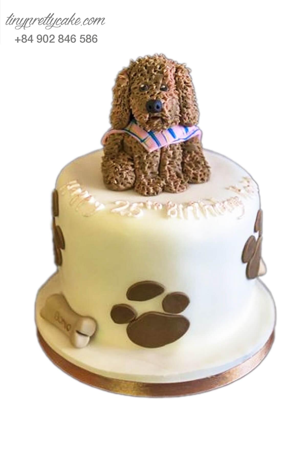 Bánh sinh nhật tạo hình Chó lông xù lanh lợi dành cho bé trai, bé gái (AC0301)