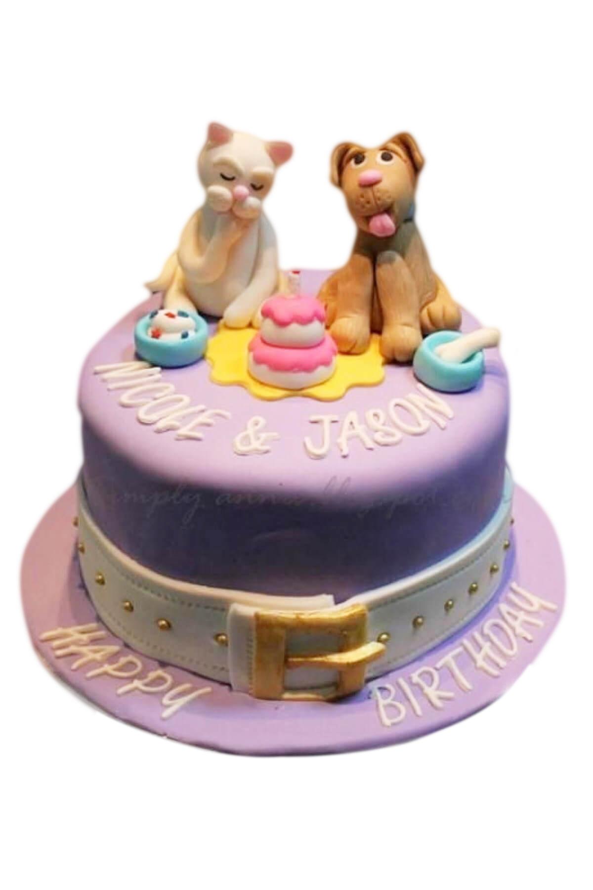 Bánh sinh nhật Đôi bạn thân Chó và Mèo cực cute cho bé trai, bé gái (AC0305)