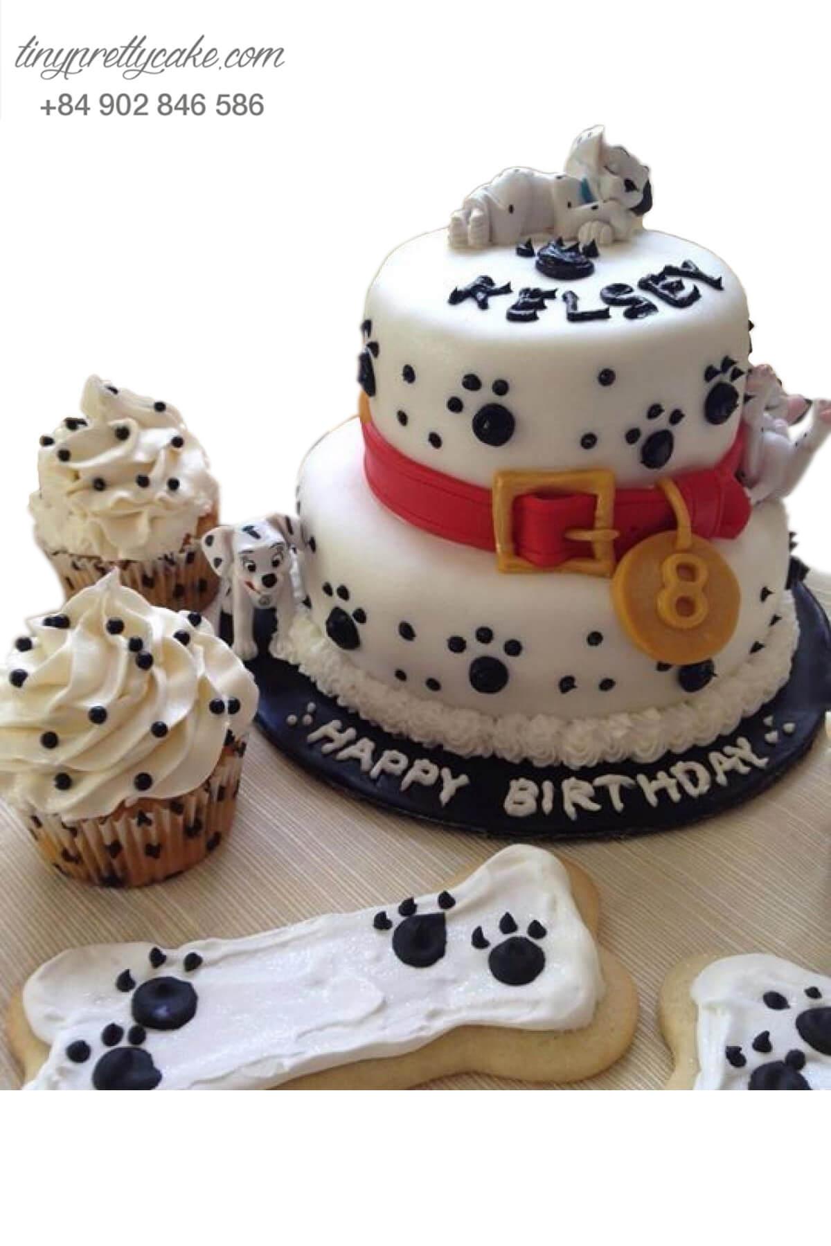 Bánh sinh nhật hai tầng Chó đốm say giấc nồng cho bé trai, bé gái (AC0308)