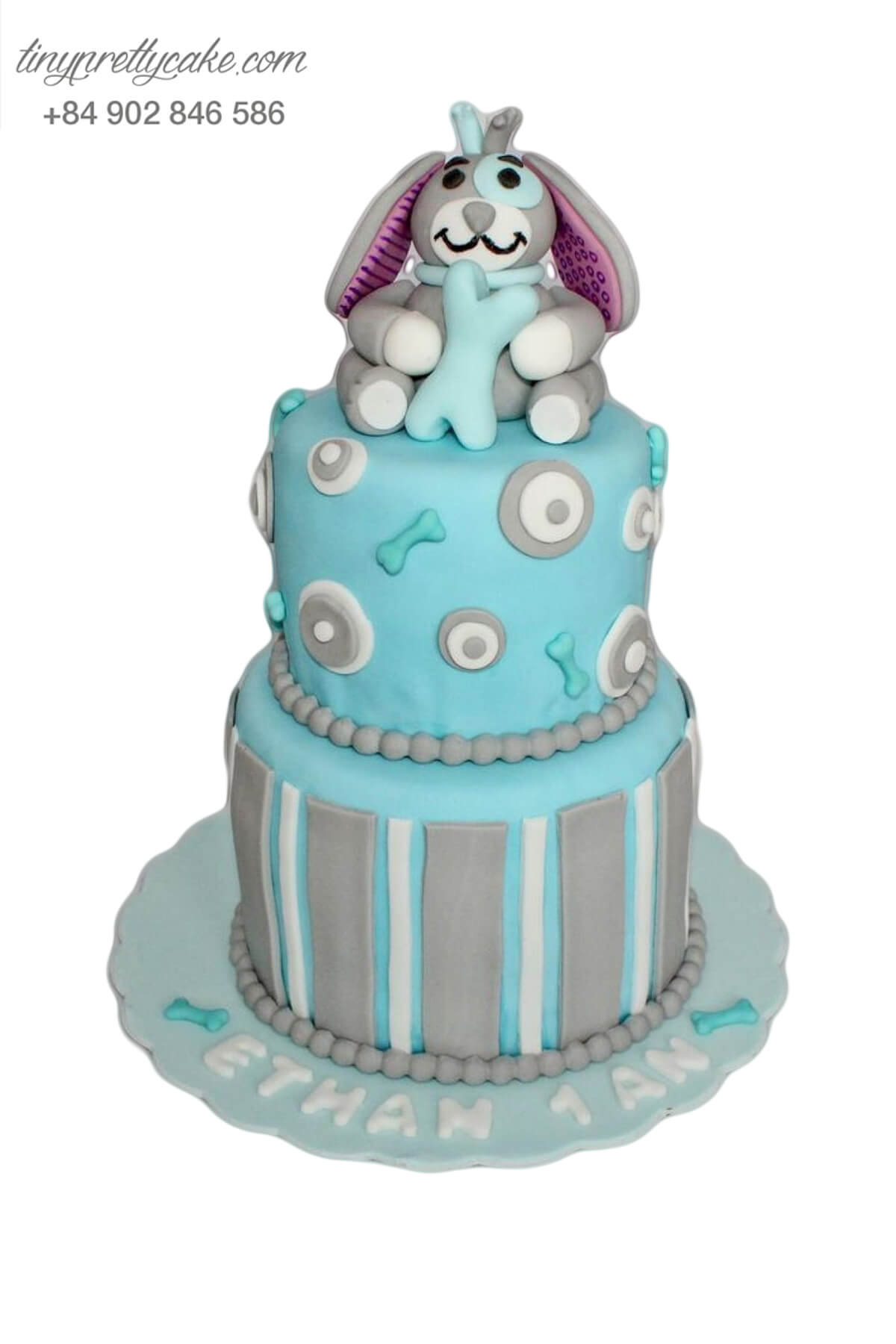 Bánh sinh nhật hai tầng thỏ tai dài cầm xương dễ thương dành cho bé trai, bé gái (AC0309)