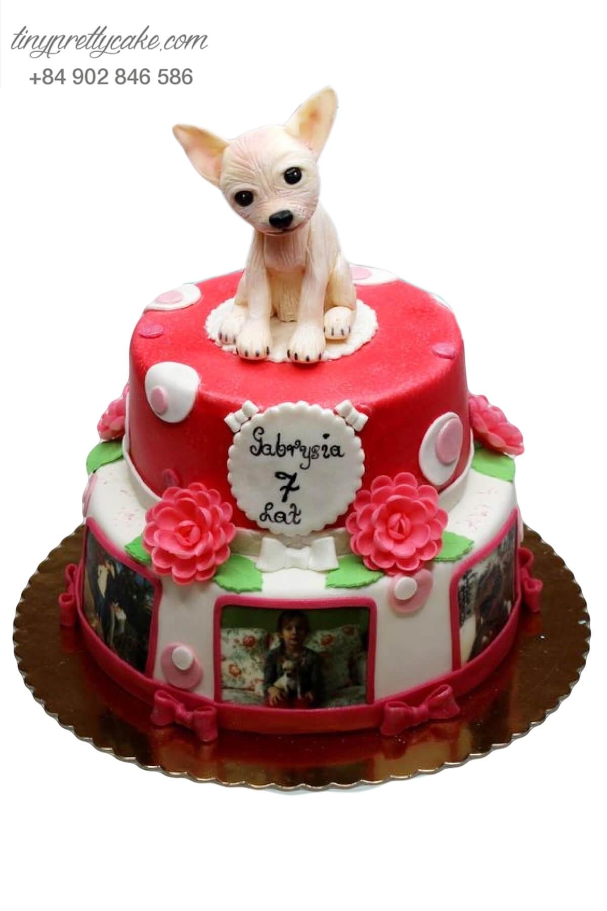 Bánh sinh nhật hai tầng Khu vườn hoa của quý cô chó con cho bé gái (AC0310)