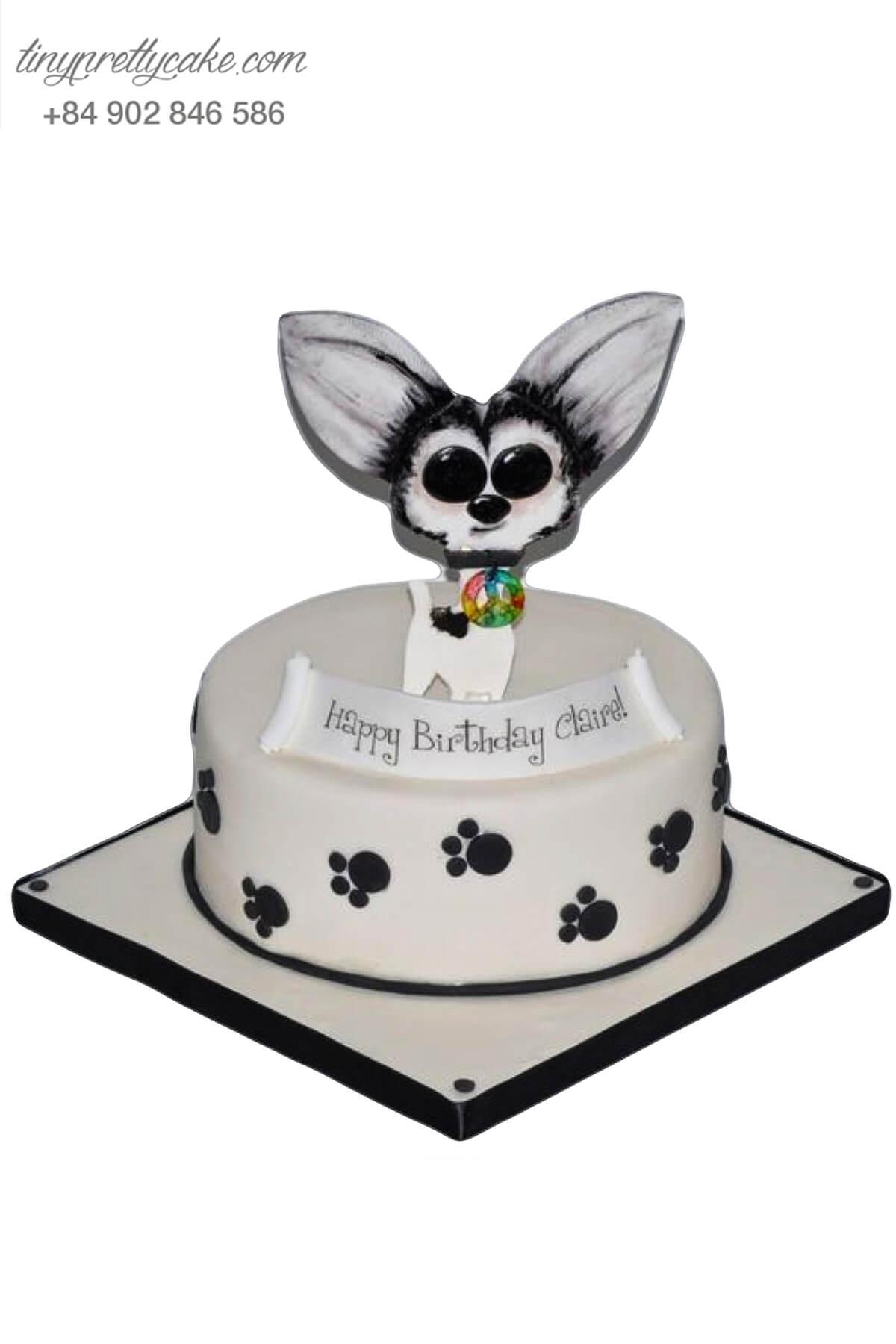 Bánh sinh nhật Quý cô chó sang chảnh hàng hiệu cực cute cho bé gái (AC0312)