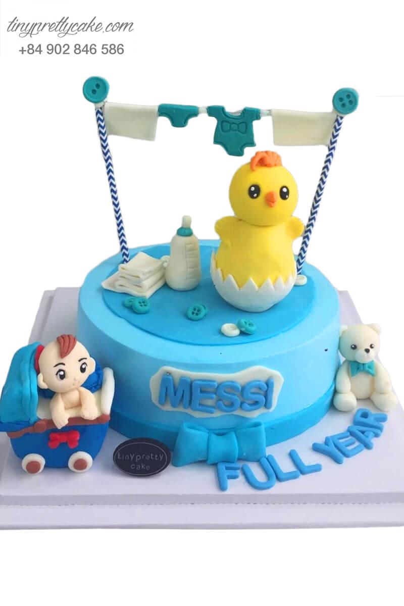 """Bánh sinh nhật thôi nôi """"nhóc tì"""" đáng yêu và gà con tinh nghịch cho bé trai (BC3120)"""