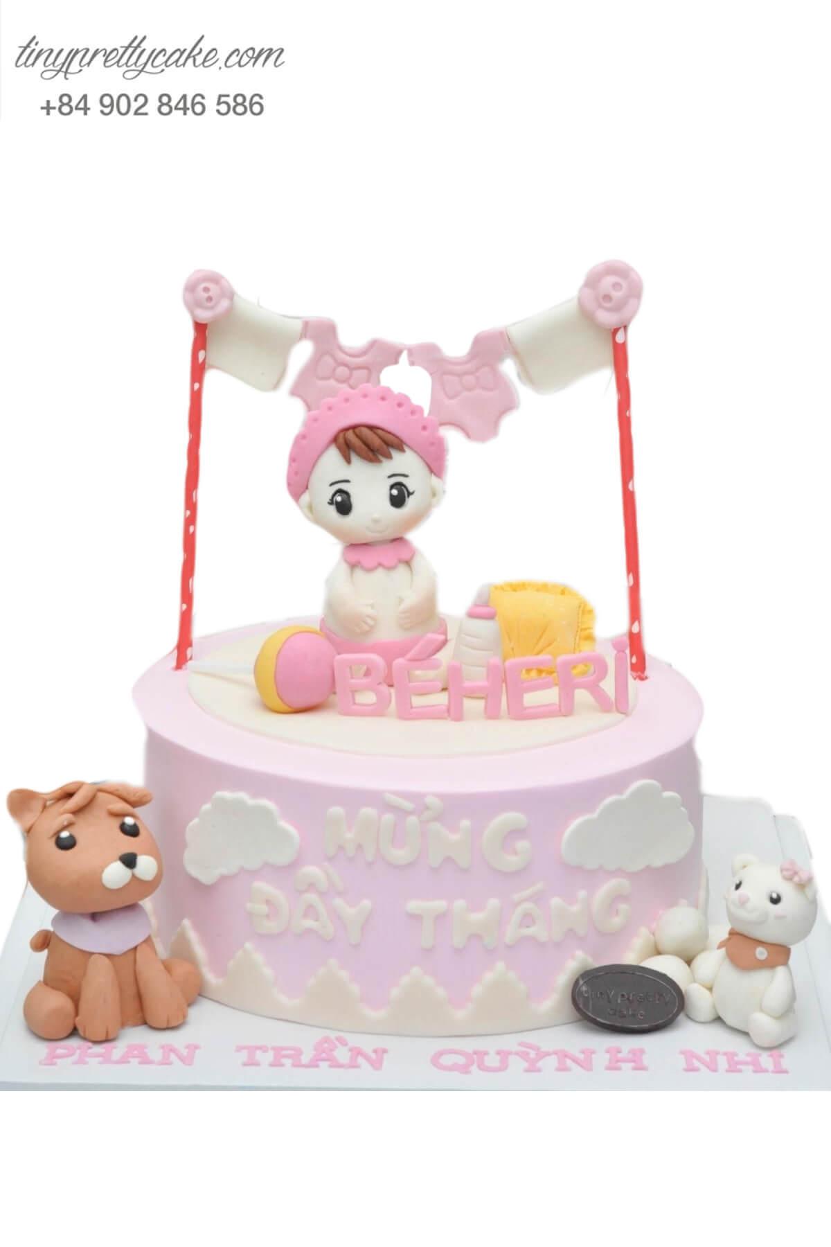 Bánh sinh nhật thiên thần nhỏ và những người bạn cực dễ thương cho bé gái (BC3210)