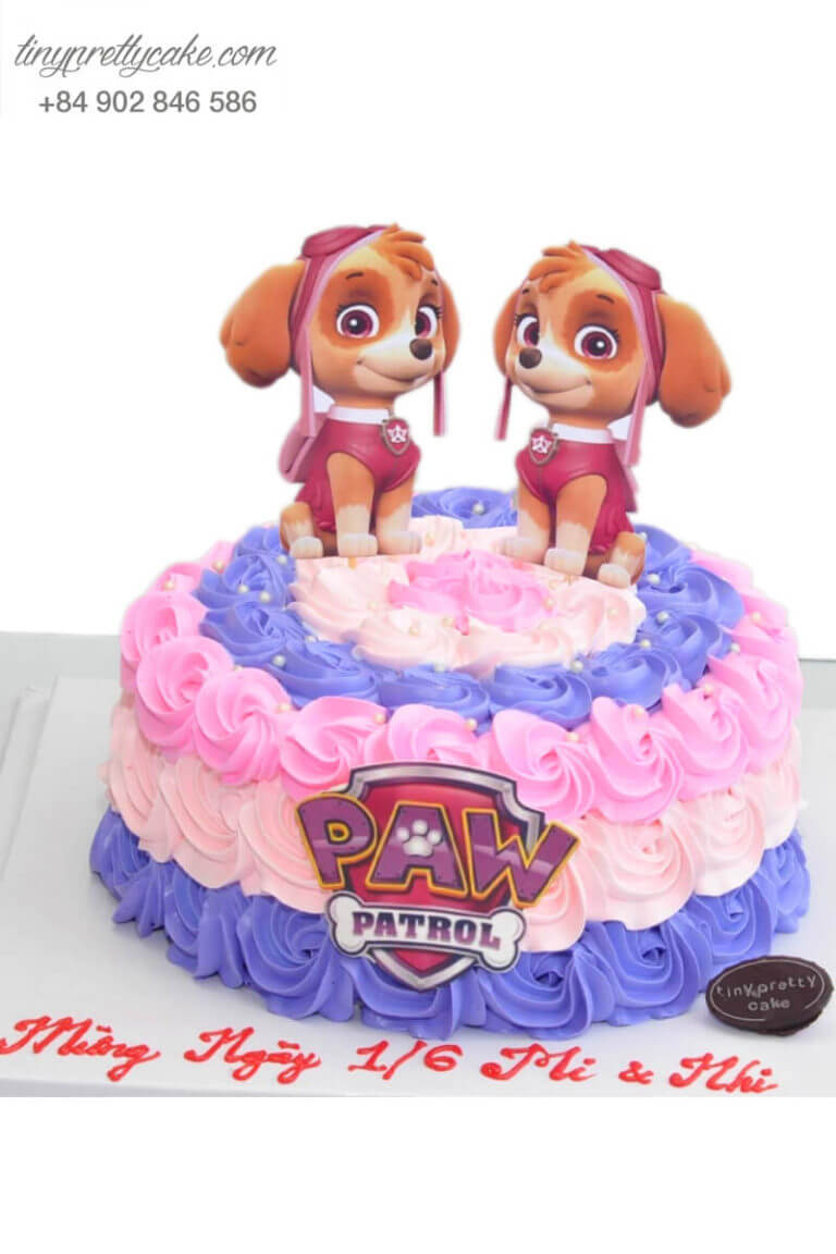 bánh sinh nhật chó skyle paw patrol