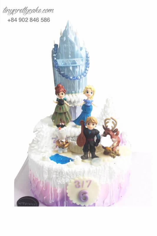 Bánh sinh nhật Lâu đài của Elsa & Anna - Nữ hoàng băng giá cực ngầu cho bé (BC3315)gái