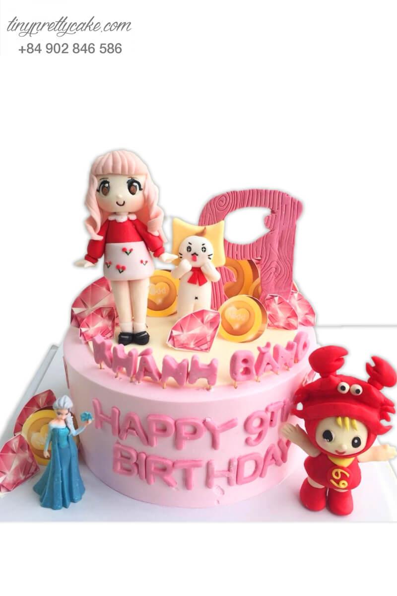 Bánh sinh nhật Tiểu thư dạo phố cùng bạn bè cực ấn tượng cho bé gái (BC3338)
