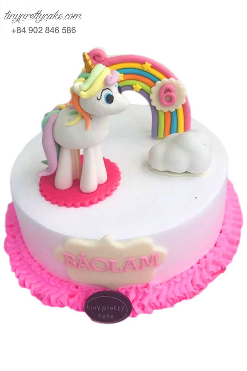 """Bánh sinh nhật thôi nôi tạo hình Quý cô Pony Unicorn """"xinh cực"""" cho bé gái (BC3360)"""