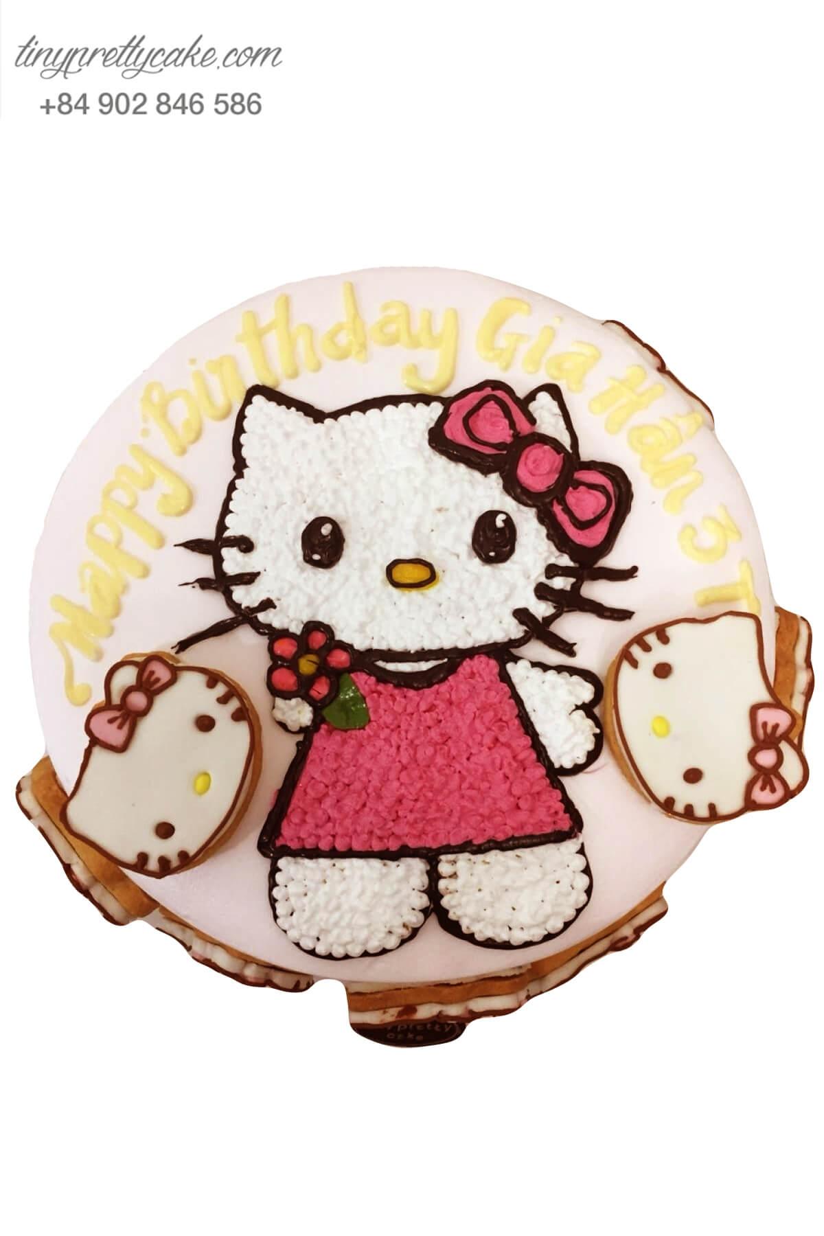 Bánh sinh nhật tạo hình Cô nàng mèo Hello Kitty điệu đà cho bé gái (BC3376)