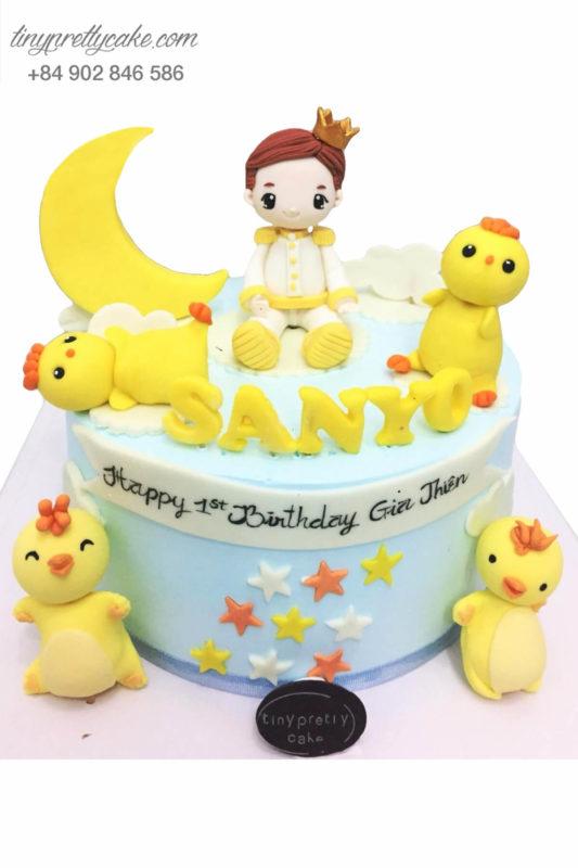 Bánh sinh nhật hoàng tử nhỏ và gà con cực đẹp cho bé trai dễ thương (BC3505)