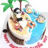 Bánh sinh nhật Bãi biển vui nhộn cực ngầu cho bé trai, bé gái (BC3555)