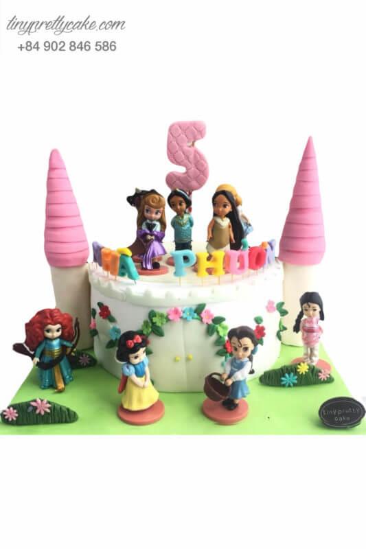 Bánh sinh nhật lâu đài màu hồng và công chúa Disney cực lạ cho bé gái (BC3571)