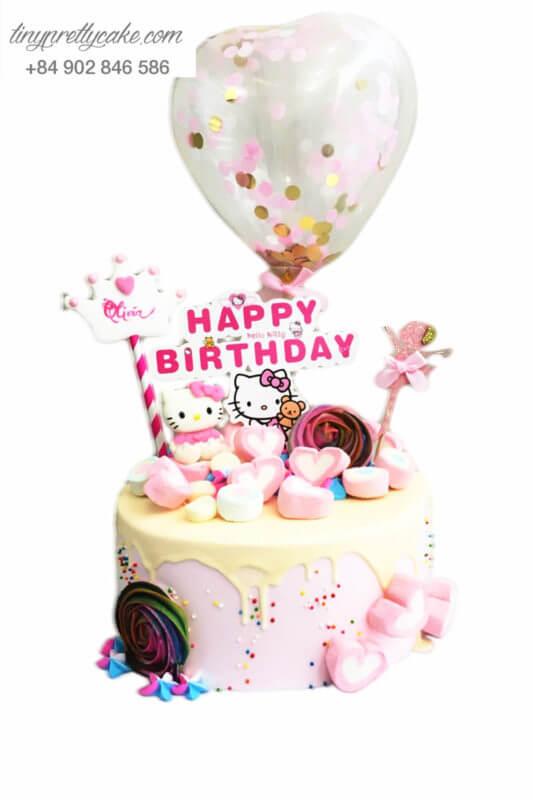 Bánh sinh nhật thôi nôi Vương quốc kẹo Hello Kitty cực lạ cho bé gái (BC3643)