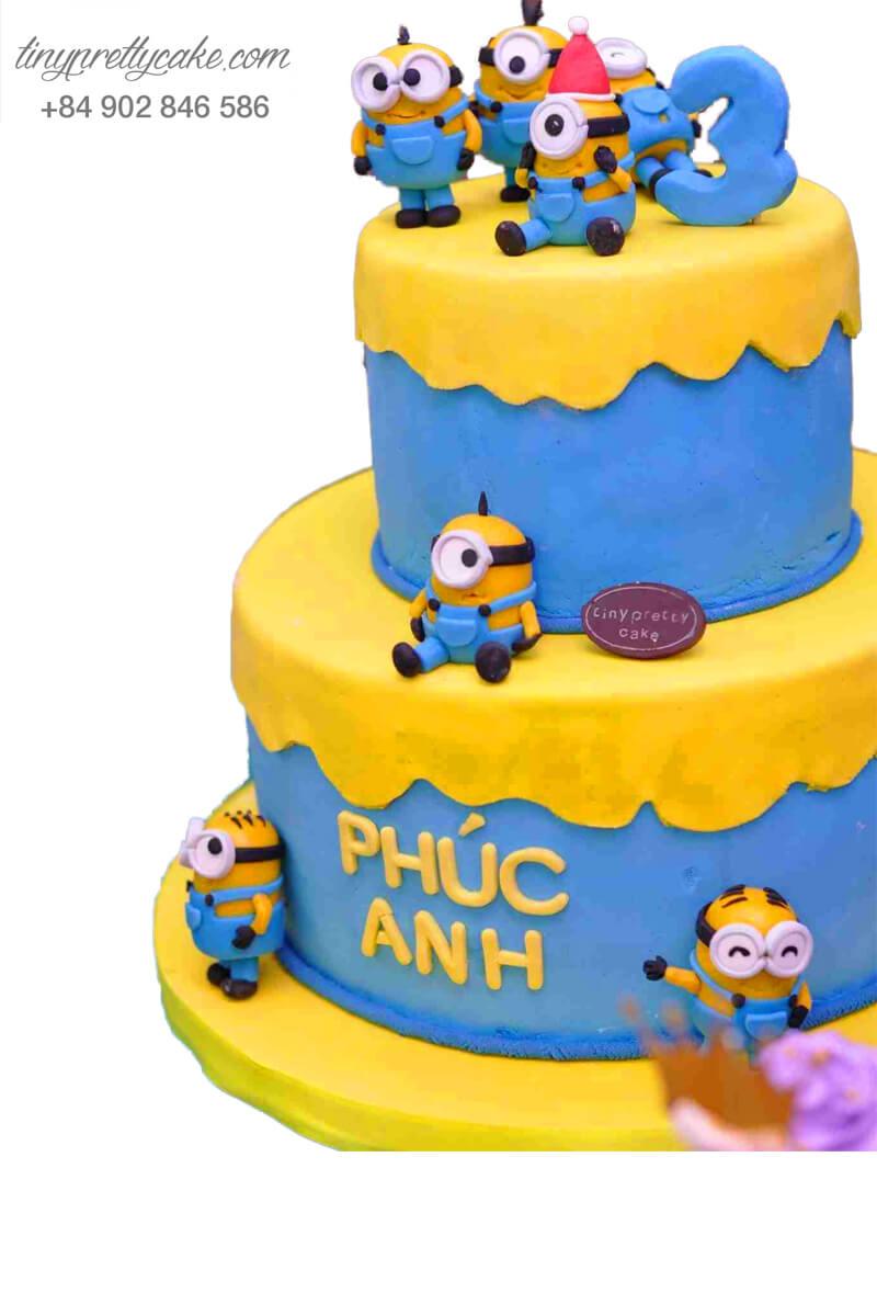 """Bánh sinh nhật Hai tầng Minion """"cực xịn"""" cực độc cho bé trai, bé gái (BF0643)"""