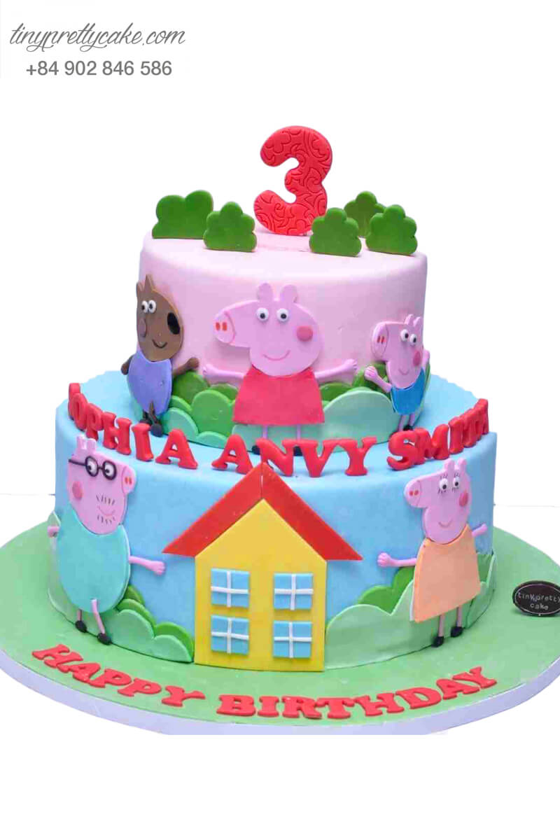 Bánh sinh nhật hai tầng Gia đình heo con Peppa dễ thương dành cho bé trai, bé gái (BF0755)