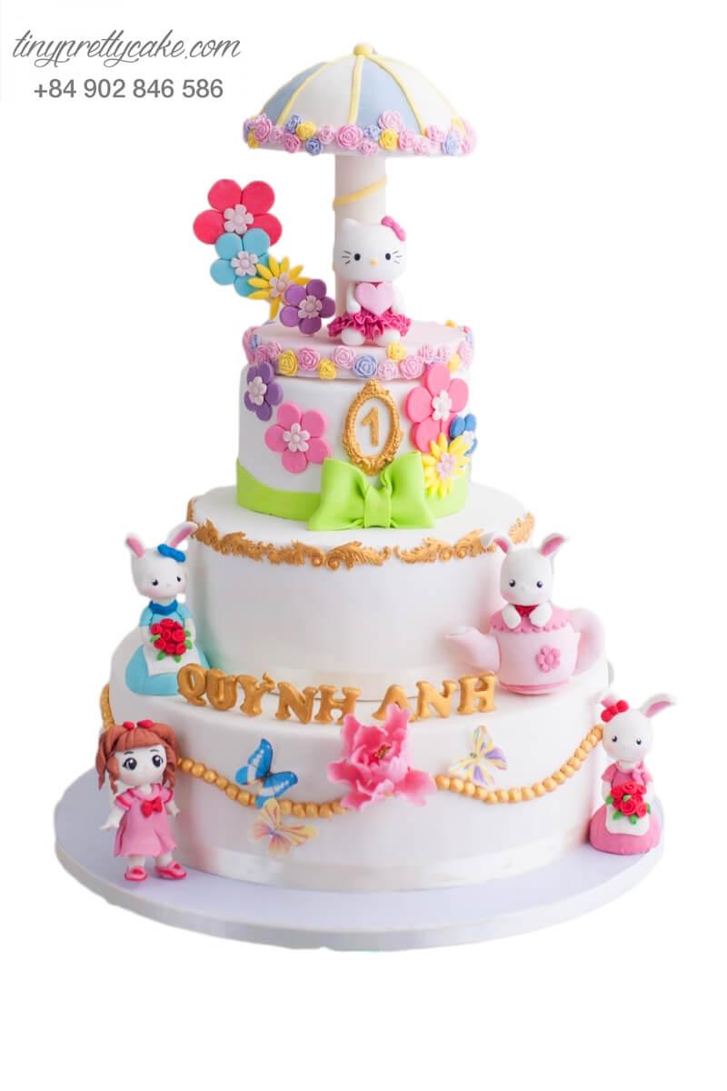 Bánh sinh nhật 3 tầng Khu vườn bí mật của Hello Kitty cực ngộ nghĩnh cho bé gái (BF0936)