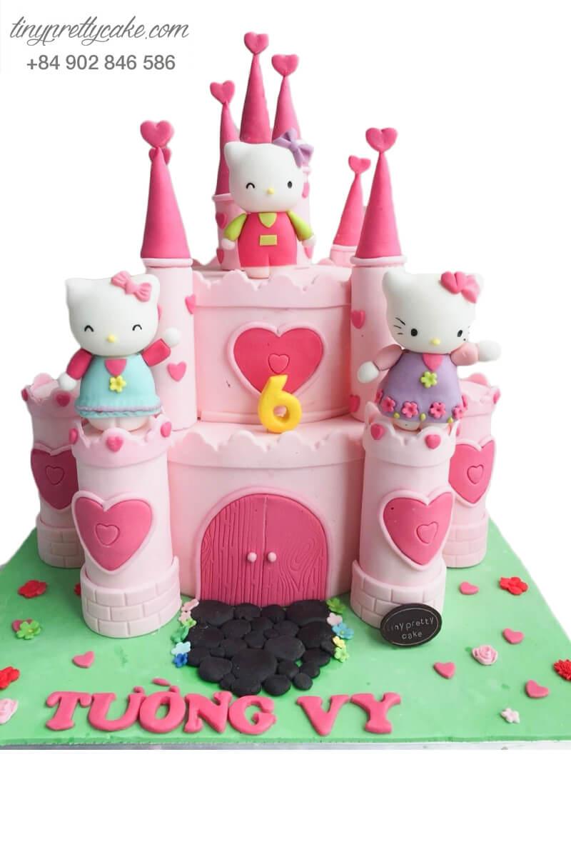 bánh kem 2 tầng lâu đài Hello Kitty