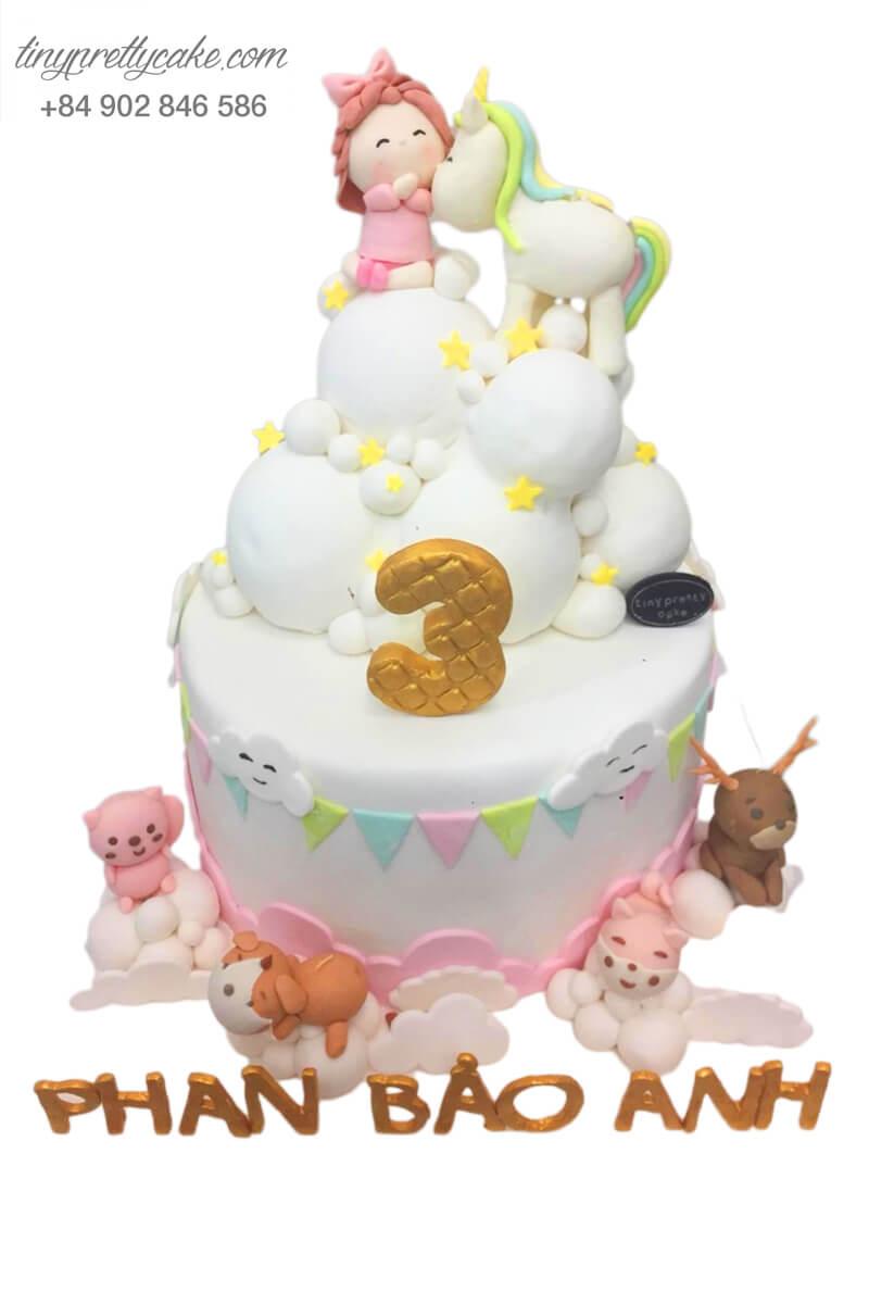 Bánh sinh nhật thôi nôi Unicorn và người bạn đáng yêu cho bé gái (BF0980)