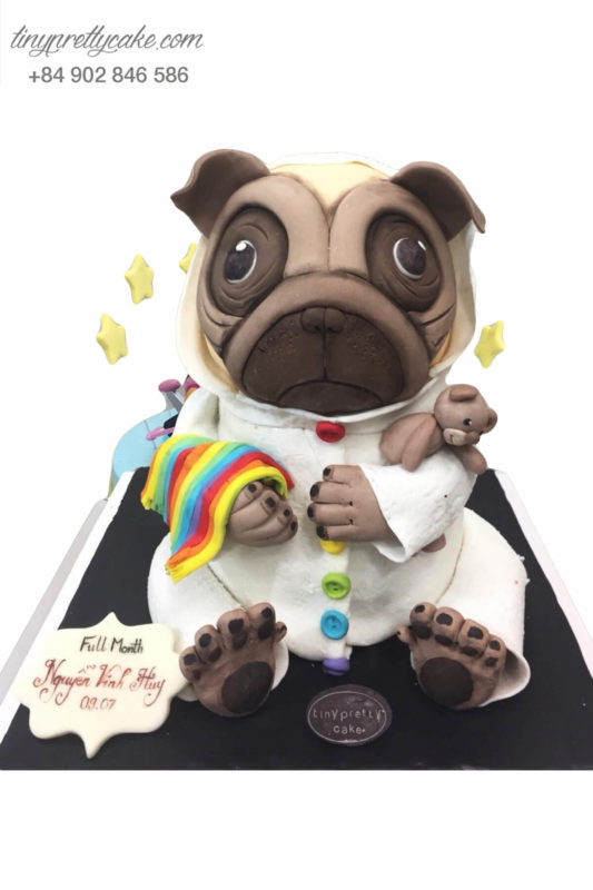 Bánh sinh nhật tạo hình Chó Pug ăn kẹo siêu đáng yêu cho bé trai (BF0995)