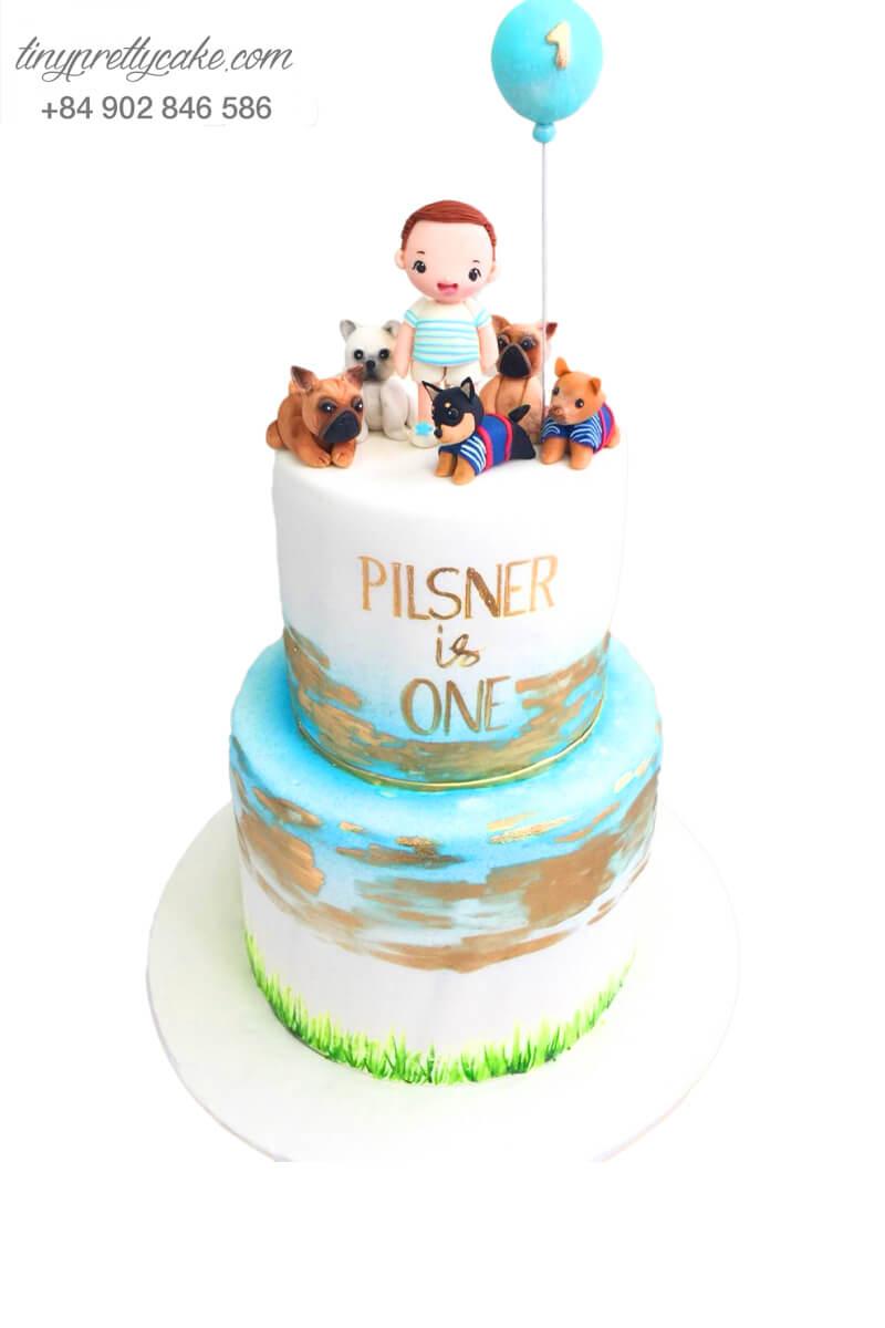 Bánh sinh nhật Hai tầng Bé bên gia đình cún con cực ý nghĩa cho bé trai, bé gái (BF1009)