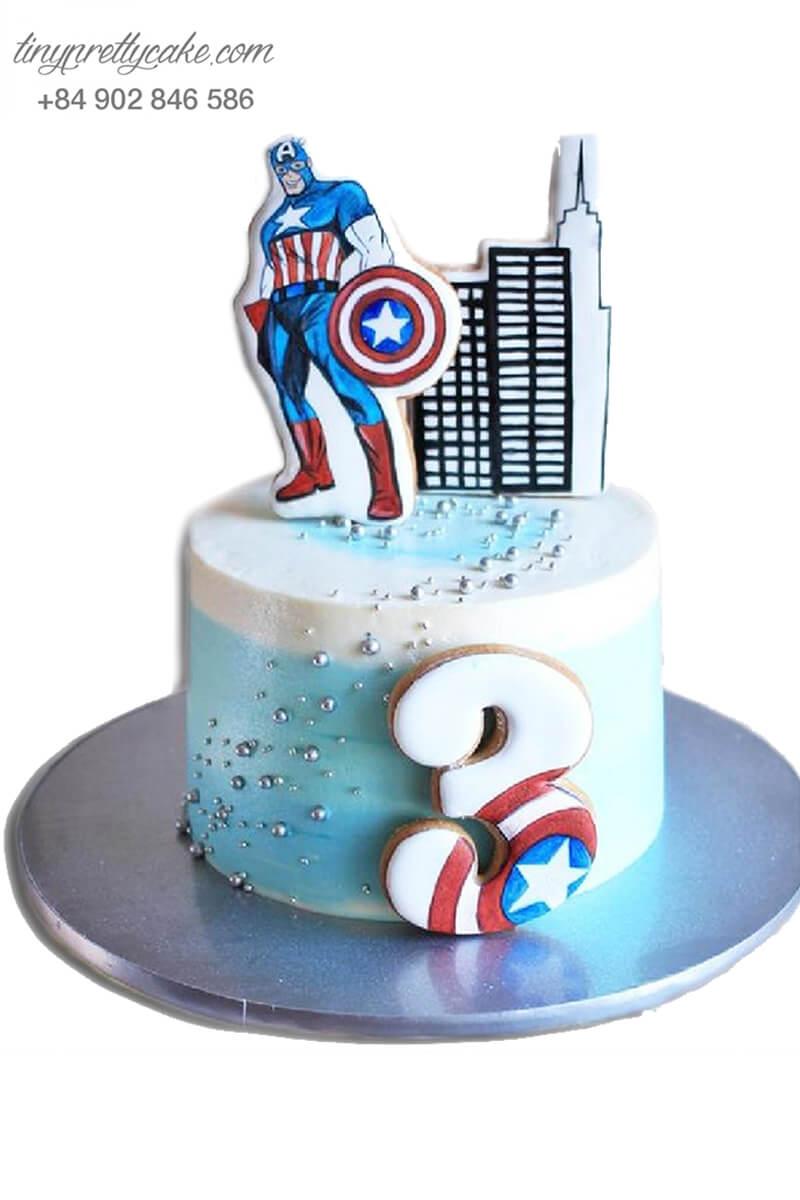 Bánh sinh nhật tạo hình siêu anh hùng Captain America dễ thương cho bé trai (BF1181)
