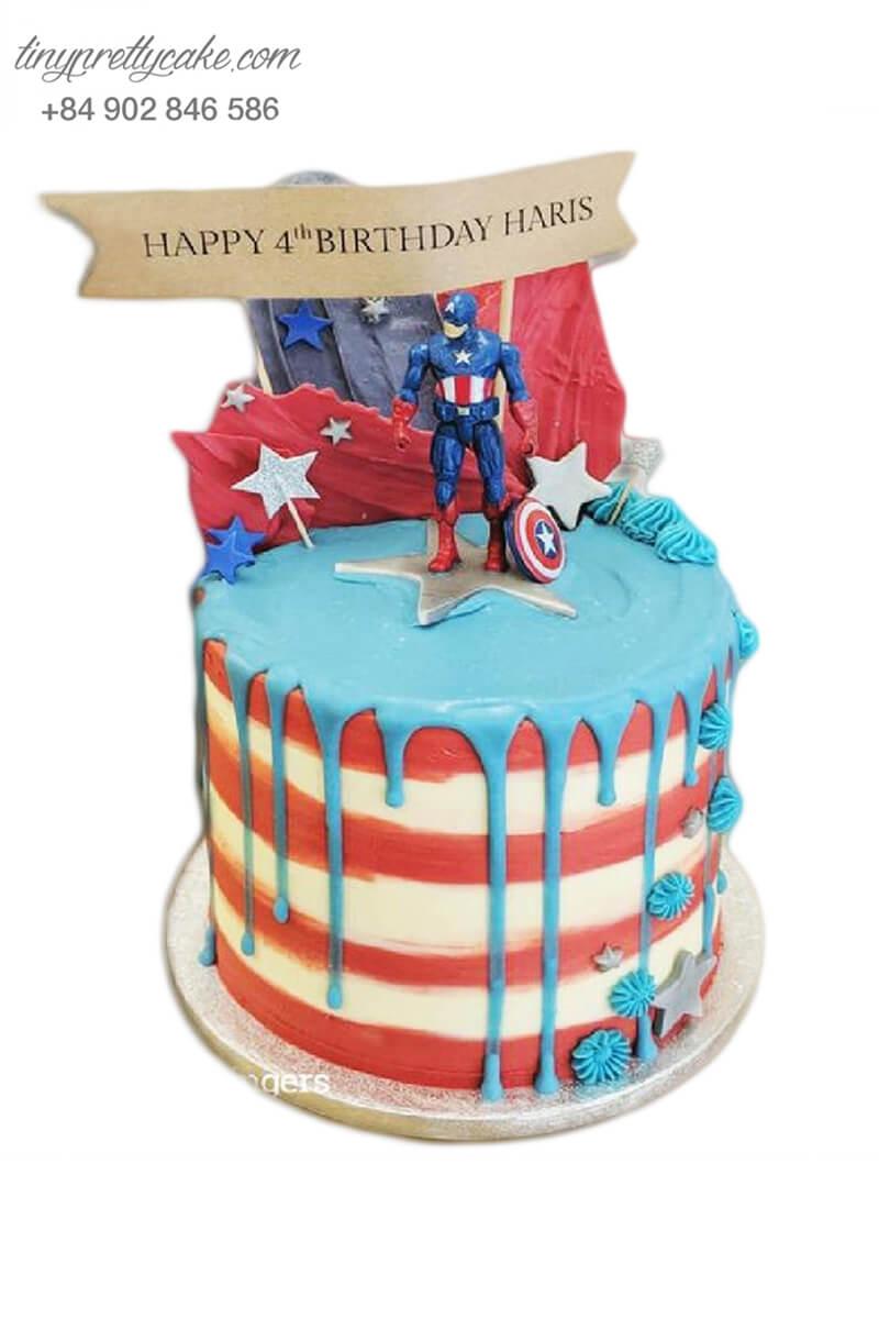 Bánh sinh nhật siêu anh hùng Captain America cực ngộ nghĩnh cho bé trai (BF1184)