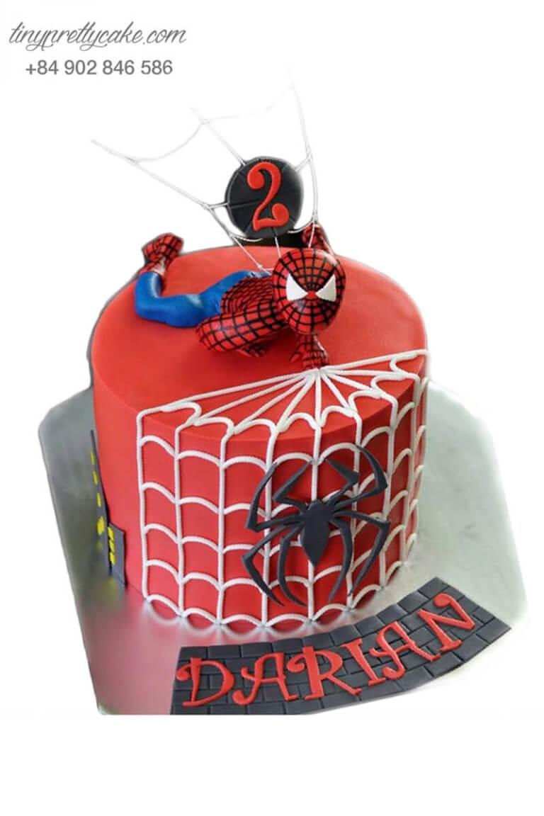bánh fondant sinh nhật người nhện Spiderman